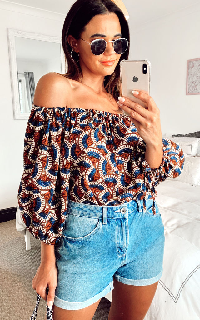 Off Shoulder Geometric Print Bardot Top With Tie Balloon Sleeves Brown/Blue by Shikha London
