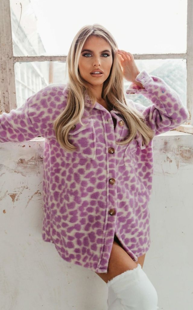 Lilac Brushed Animal Print Shacket by JustYourOutfit
