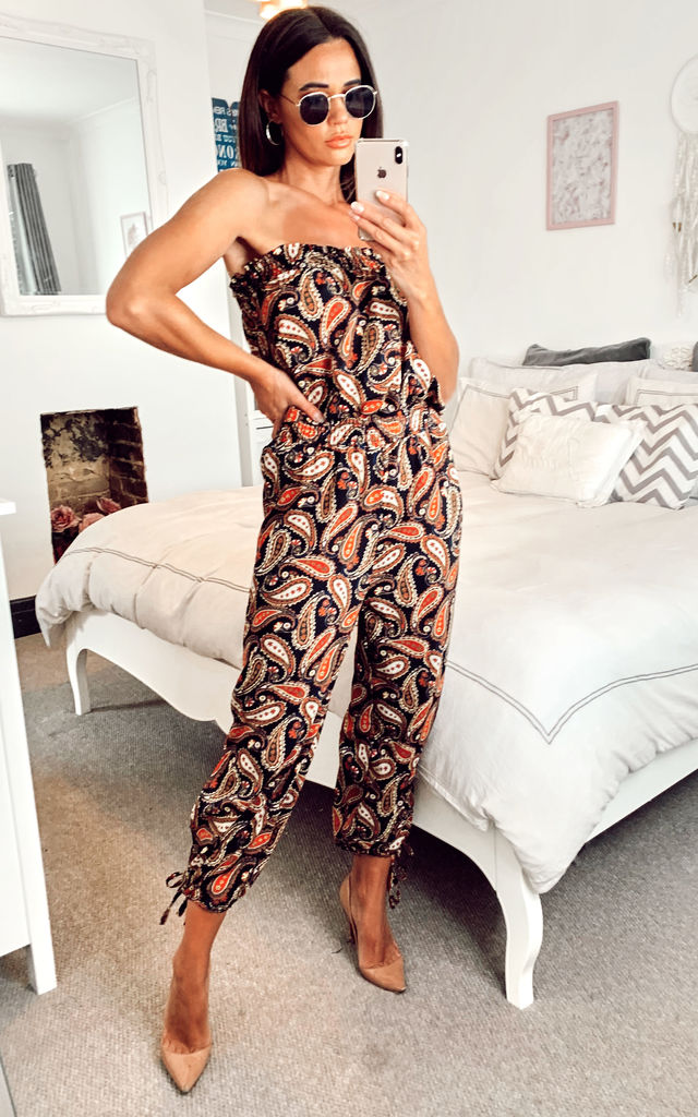 Bardot Tie Leg Bandeau Jumpsuit With Paisley Print In Black by Shikha London