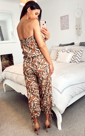 Bardot Tie Leg Bandeau Jumpsuit With Paisley Print in Beige by Shikha London