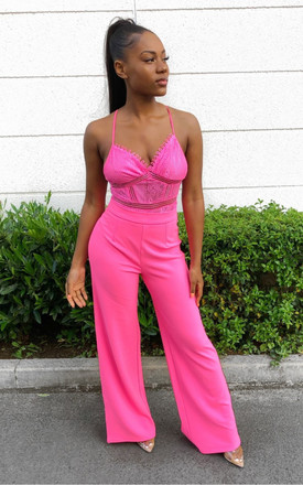 High Waist Wide Leg Trouser in Pink by J.M.TAIT