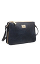 VINTAGE THREE POCKET CROSS BODY BAG NAVY by BESSIE LONDON