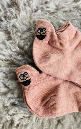 Expression Faces Trainer Socks (Pink) by Pink Lemonade Boutique
