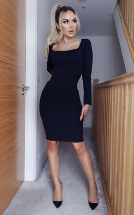 Josie Navy  Long Sleeve Bodycon Dress by Missfiga Product photo
