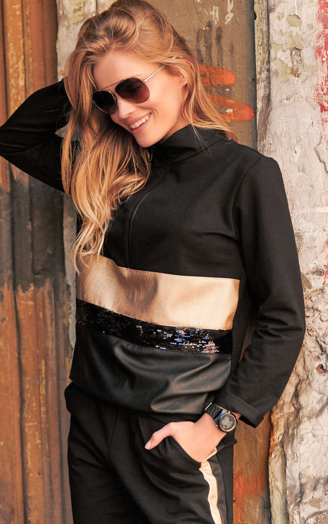 Black Tracksuit Set with Eco Leather and Sequin by Makadamia