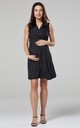 Women's Maternity Nursing Skater Dress Sleeveless Layered Neck Black with Dots by Chelsea Clark