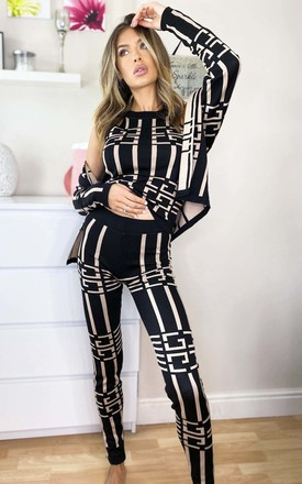 Jaq Three Piece Printed Co-ord in Black by IKRUSH
