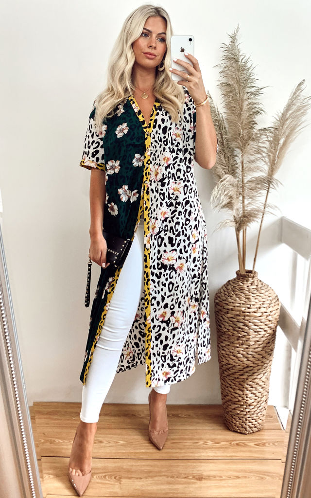 Silk Blend Mixed Print Kimono by Jayley Collection