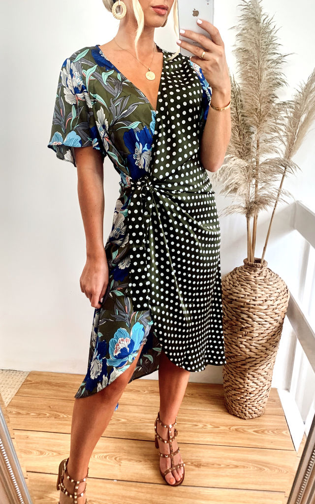Mixed Print Silk Blend Wrap Dress by Jayley Collection