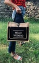 Hello Weekend Tote Bag Black by Beauabea