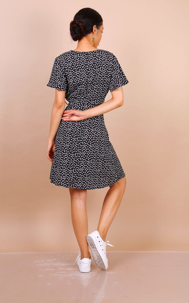 Summer Black Daisy Dot Wrap Front Mini Dress by Lilura London
