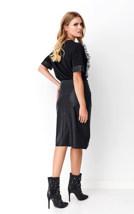 Black Pencil Skirt with Decorative Patch by Makadamia