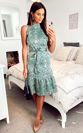 Satin Mint Green And Yellow Leopard Print High Neck Midi Dress With Frill Detail And Belt by D.Anna Product photo