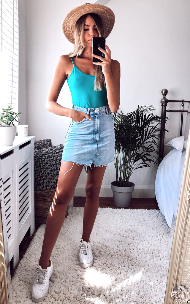 Strappy Vest Top in Turquoise Blue by KURT MULLER