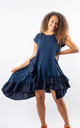 Alma - Ruffle Detailed Skater Dress In Navy by Pinstripe
