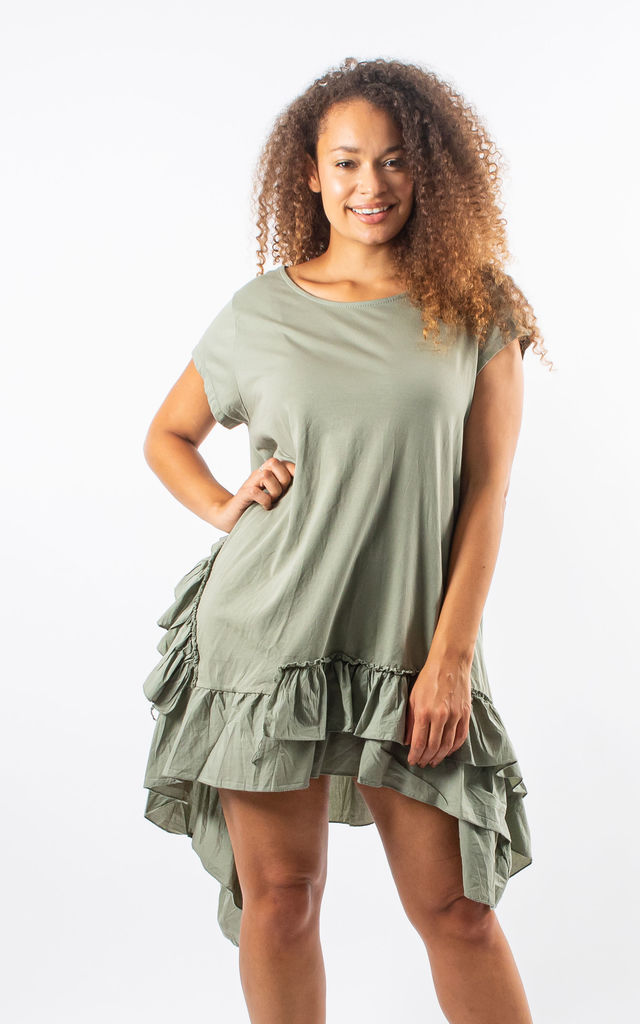 Alma - Ruffle Detailed Skater Dress In Khaki by Pinstripe