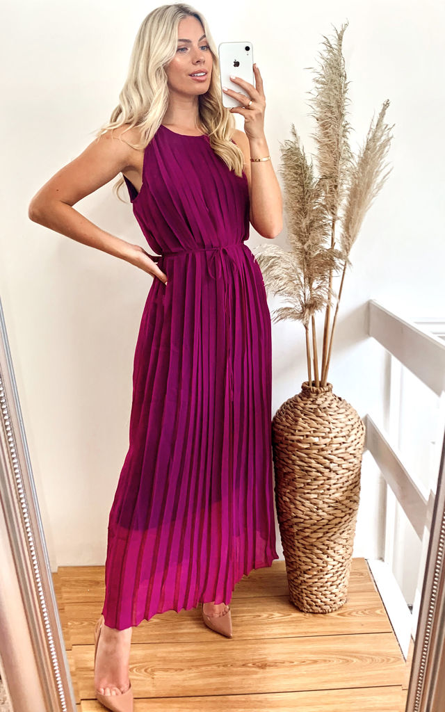 Sleeveless Pleated Full Length Maxi Dress in Purple by CY Boutique