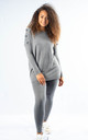 Maisey - Pom Pom Sleeve Knitted Lounge Set In Grey by Pinstripe