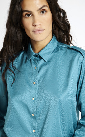 Satin Oversized Shirt in Blue by SixtyNinety