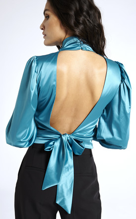 Open Back Blouse in Blue by SixtyNinety