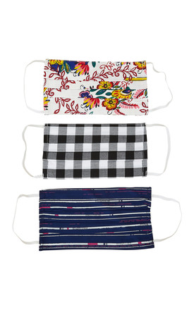 Assorted Design Face Coverings Pack of 3 by Yumi