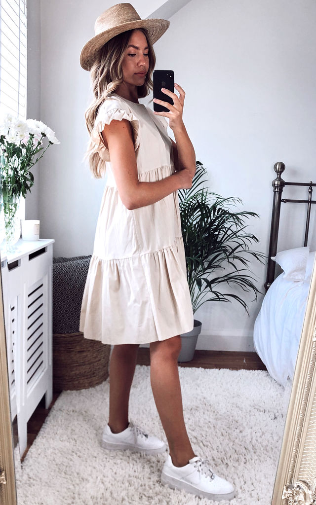 Cream Smock Tiered Frill Sleeve Mini Dress by Gini London