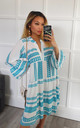 Turquoise Aztec Smock V Neck Ruffle Mini Dress by GIGILAND UK