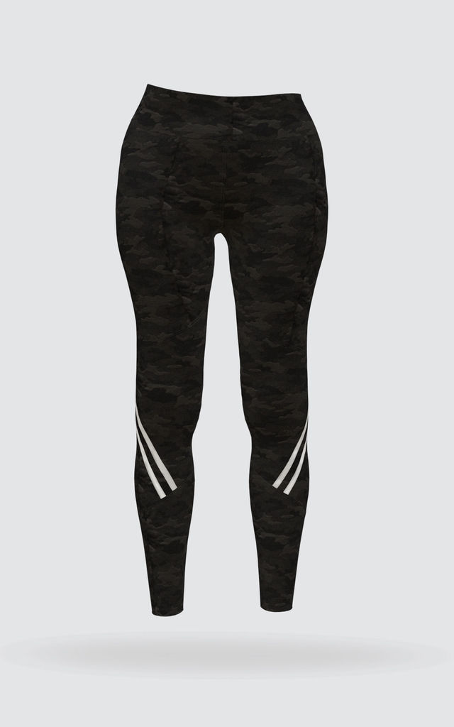 Black High Waisted Camo Stripe Gym Leggings by fasheon