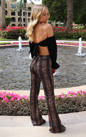 High Waisted Flared Trouser in Dark Snake Print by J.M.TAIT