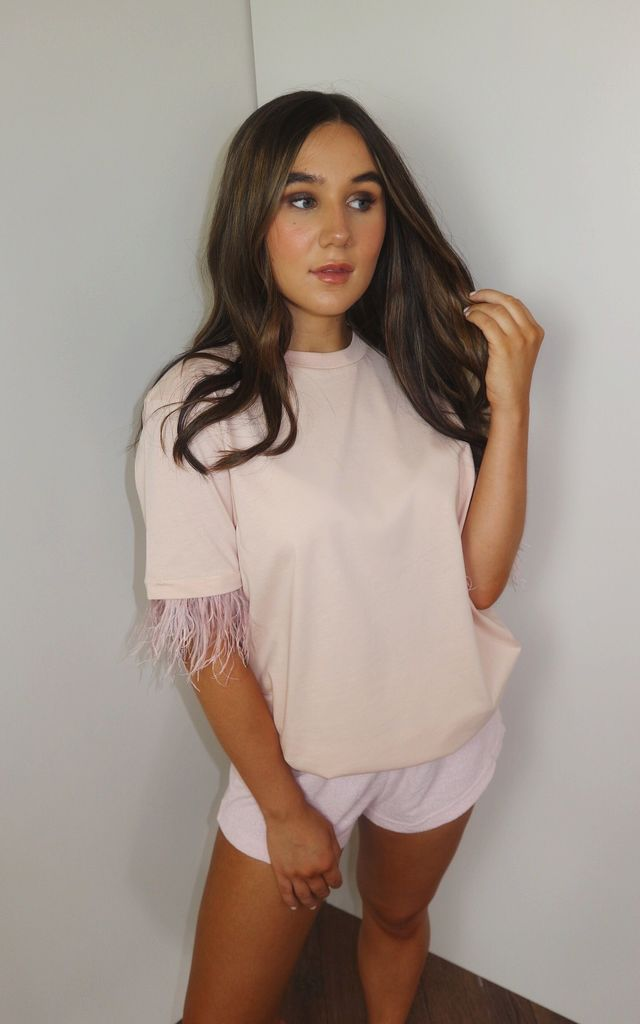 Feather Too Much T-shirt Summer Tops Pink by Doll And Me