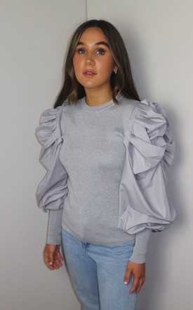 Puff Sleeve Princess Ribbed Jumper in Grey by Doll And Me