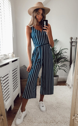 Emerald Green Striped Culotte Jumpsuit With Tie Waist by APRICOT Product photo
