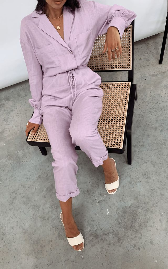 Cara Linen Boilersuit - Lilac by Pretty Lavish