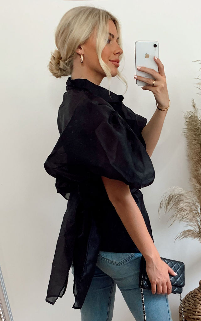 Elegant Organza shirt with big bow belt design in black by CY Boutique