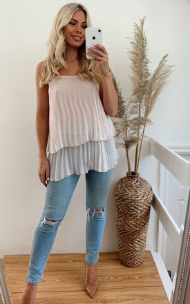Strappy Pleated Layer Vest Top in Pink by CY Boutique