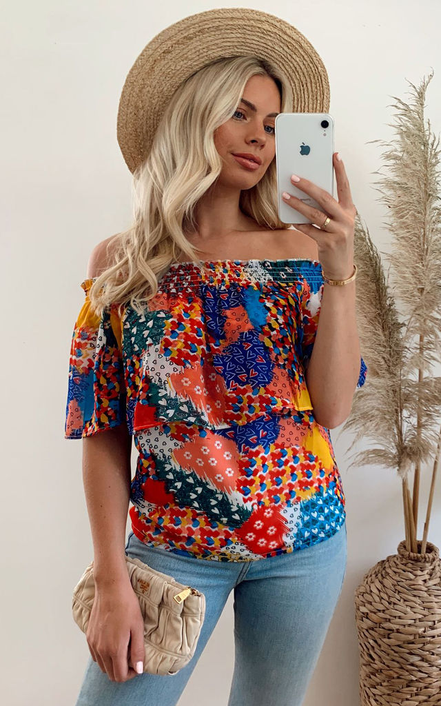 Patchwork Heart Bardot Top by Yumi