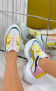 Cassie Chunky Lace Up Trainers in yellow by Larena Fashion