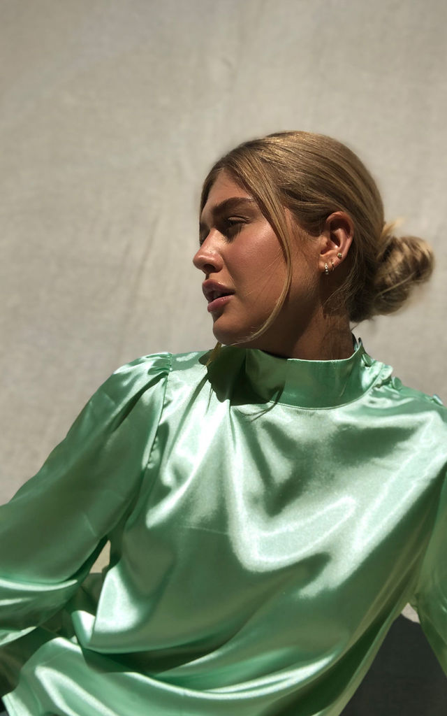 Lou Satin Blouse in Sage Green by Zibi London