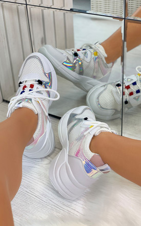 Keira Chunky Lace Up Trainers in White by Larena Fashion