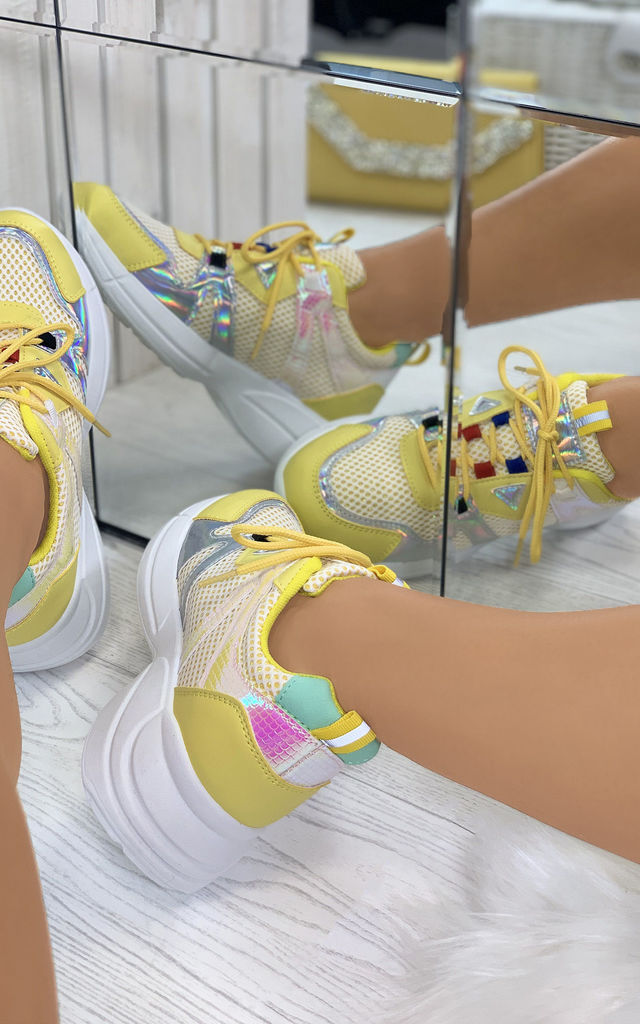 Keira Chunky Lace Up Trainers in Yellow by Larena Fashion