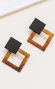 Orange and Black Geometric Square Drop Earrings by Always Chic