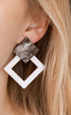 White and Grey Geometric Square Drop Earrings by Always Chic
