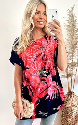 Short Sleeve T-Shirt with Pink Palm Leaf Design by CY Boutique