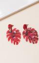 Red Tortoiseshell Acrylic Leaf Drop Earrings by Always Chic
