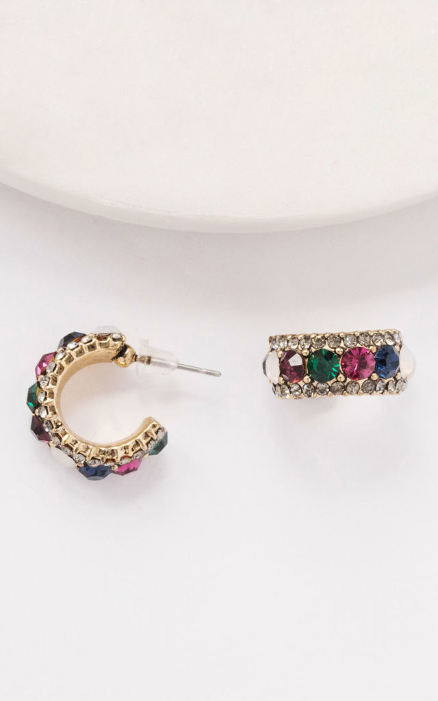 Gold Colourful Rhinestone Vintage Huggie Hoops by Always Chic
