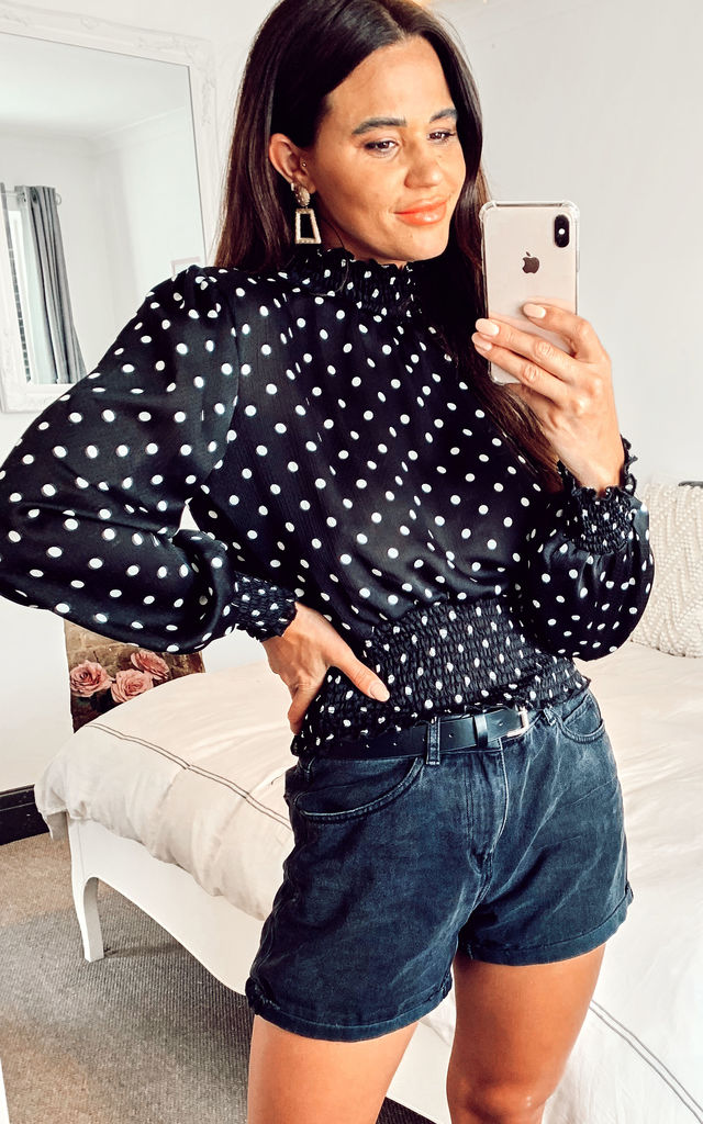 Spot Satin Black Polka Dot Shirred Neck Cropped Top by MyCHIC