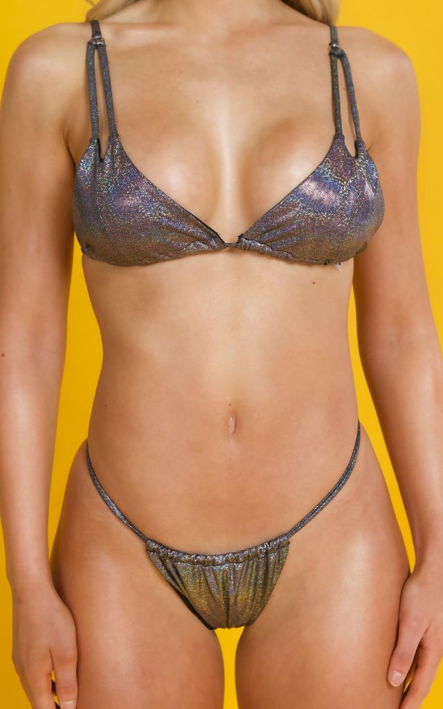 MYA High Leg Bikini in Metallic Black/Silver by Millennium Dolls