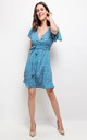 Summer Blue Daisy Dot Wrap Front Mini Dress by Lilura London