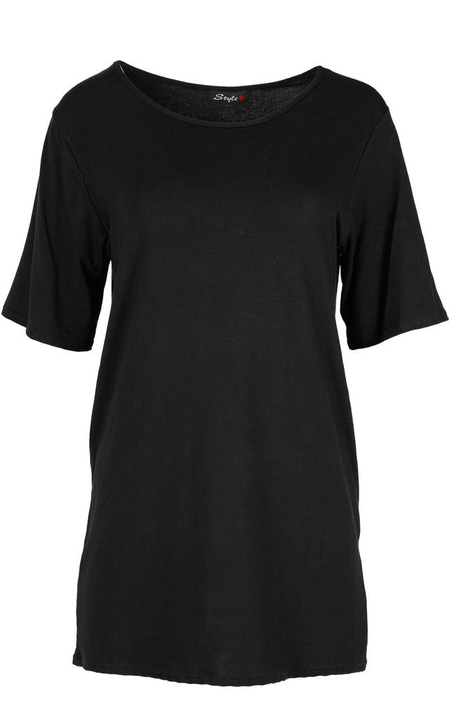 Plain Sleeve Oversized T-shirt In Black by Oops Fashion