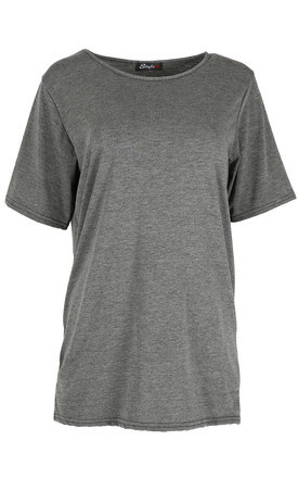 Plain Sleeve Oversized T-shirt In Charcoal by Oops Fashion